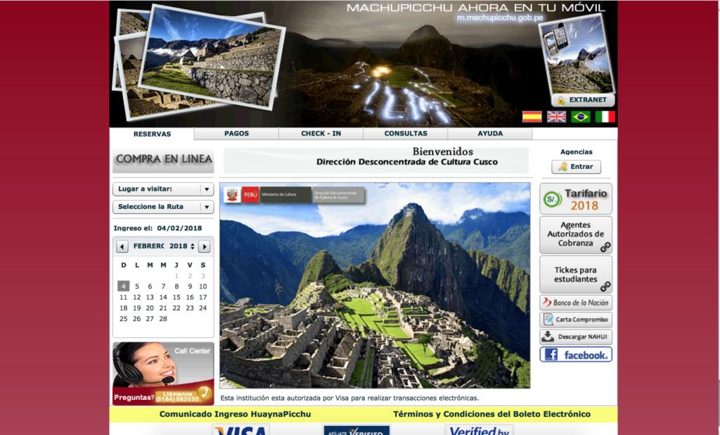 Impression écran de la page d'accueil du site officiel du Machu Picchu